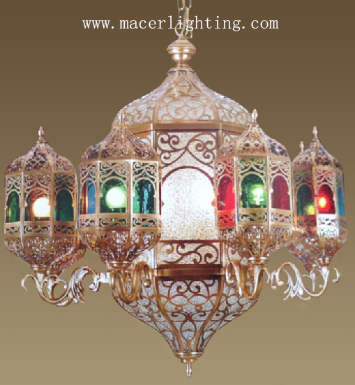 Moroccan mosque Tiffany glass lamp brass chandelier with casting brass