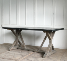 vintage industrial style zinc top dinner table