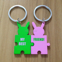 Colorful assembly metal key chain for lovers