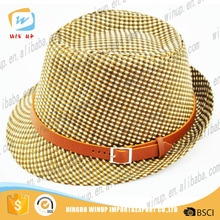 WINUP NEW Style Leather Strap Blank Hat Fur Hat Women Straw Fedora Hat