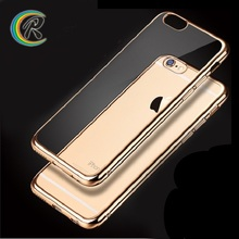 Phone accessories mobile case for iphone 6 cell for iPhone 6s plus transparent crystal clear soft plating bumper tpu case cover