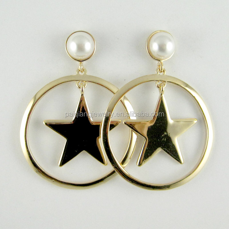Korean style fashion imitation pearl star hoop earring