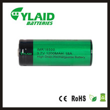2016 New hot sale 18a 1100mah rechargeable battery cylaid 18500 rechargeable battery 18500 battery tube mod