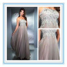 Lastest Strapless Grey Color Evening Dresses (EVMA-1024)