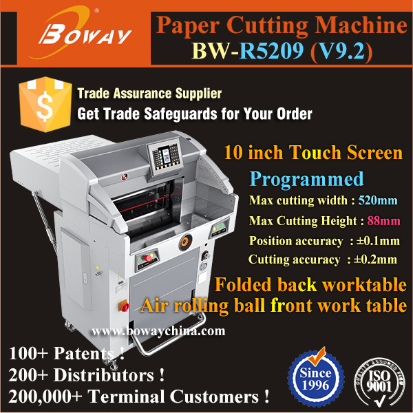 2017 R5209 A3 A4 Hydraulic 8 Pushing Programs industrial guillotine paper