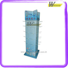 supermarket commodity 4 face hooking corrugated retail promotion paper floor display