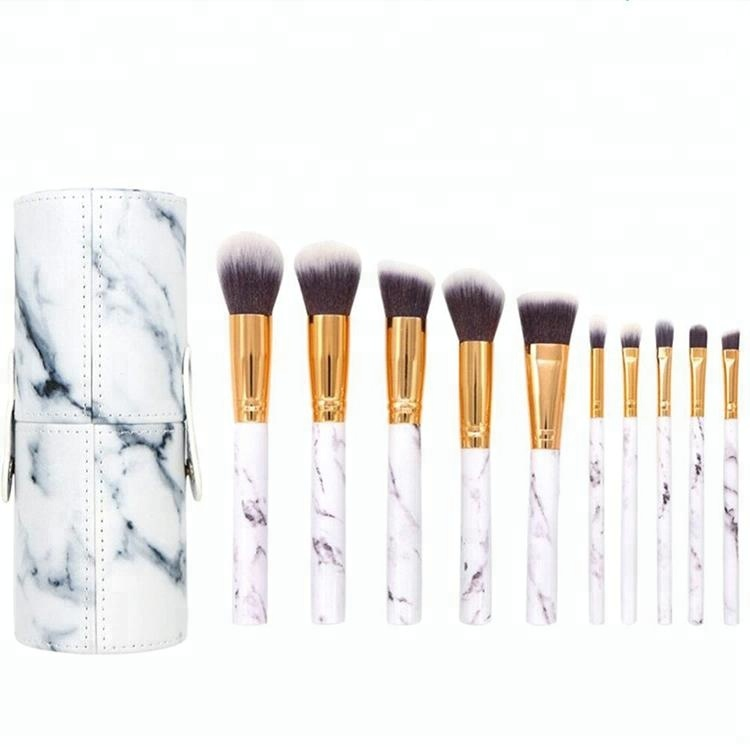 2018 Best Seller Handmade Make up Brush Kit 10pcs Marble Cosmetic PU Bag Brush Holder Makeup Brush Holder