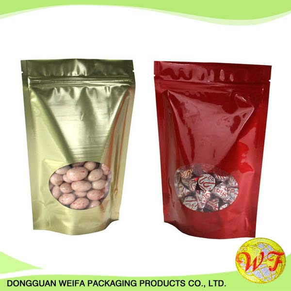 Sample Free Stand Up Pouch With Zipper Bag With Clear Window For Nuts