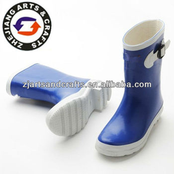 Hale height blue trendy rain boots with buckle for ladies