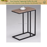 Fashion vintage wooden table with metal frame, coffee table