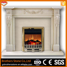 White marble corner electric fireplaces with flower sculpture