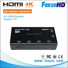 Mini 4 in 1 out 4x1 HDMI Switcher support 4K with remote controll and PIP function