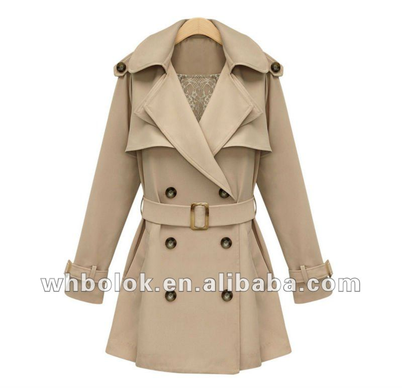 OEM European style high quality ladies wind coat with belt tencel coat