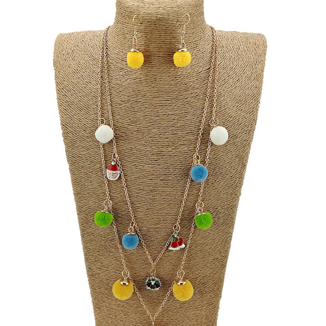 2017 New arrival handmade multicolor pom pom gold chain necklace for Christmas NKL0111