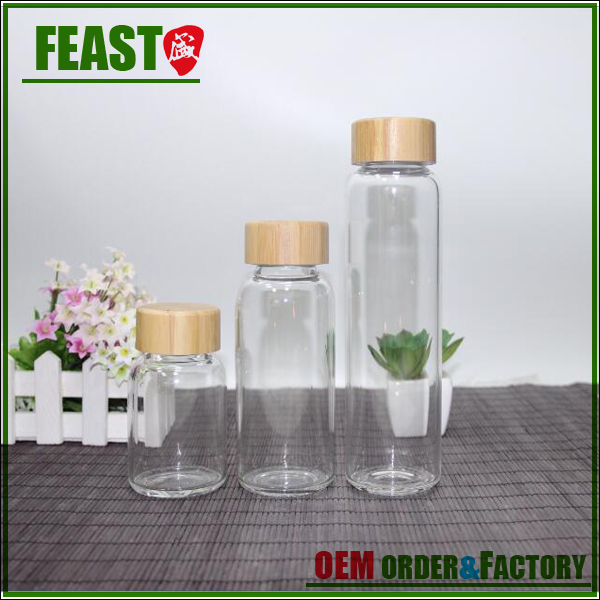 Tea Infuser and Fruit Infused Glass Water Bottle with bamboo lid, Glass Fruit infusion bamboo water bottle