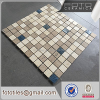 China ceramic wall tile easy stone mosaic design pictures pattern blue mixed color