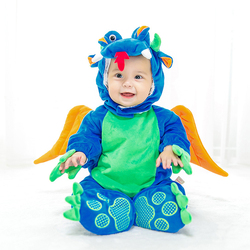 Baby Kids Clothing Winter Halloween Blue Dragon Dinosaur Outfits Cosplay Party Cartoon Mascot Costume
