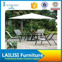 Hot sales outdoor dining coffee table and four big aluminum chairs with umbrella
