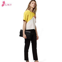 latest design three color block chiffon short sleeves girls top blouse
