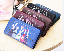 High Quality Leather Cartoon Printing Wallets Zipper Wallet and Purse