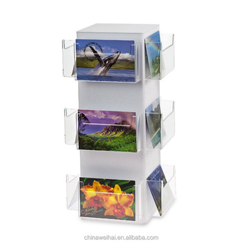 Source One Deluxe Rotating Revolving Counter Top Postcard Display Fixture Holder (1 Pack, 12 Pocket)