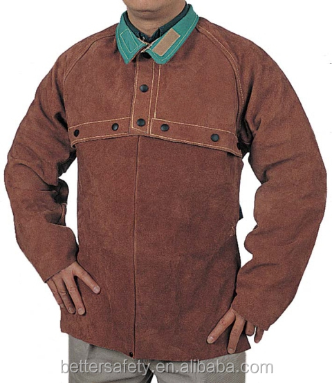 Brown Split Cowhide Leather Welding Cape Sleeves With Detachable Split Leather Apron