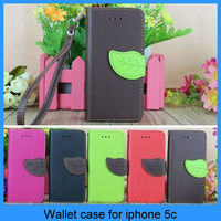 Luxury Leather Credit Card leaf Magnetic Wallet Flip Case For iPhone 5C 5S 5G Note 3 S4(PT-I5CL225)
