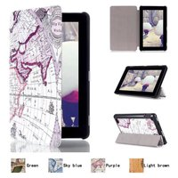 "Map Pattern Slim 3- Folding Leather Case Cover Skin For Amazon Kindle Fire HD 7.0"" 2015"