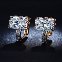 18K Gold Plated 2016 Europe Earring Square AAA CZ Diamond Earrings For Women Elegant Vintage Fashion wedding jewelry LSE015