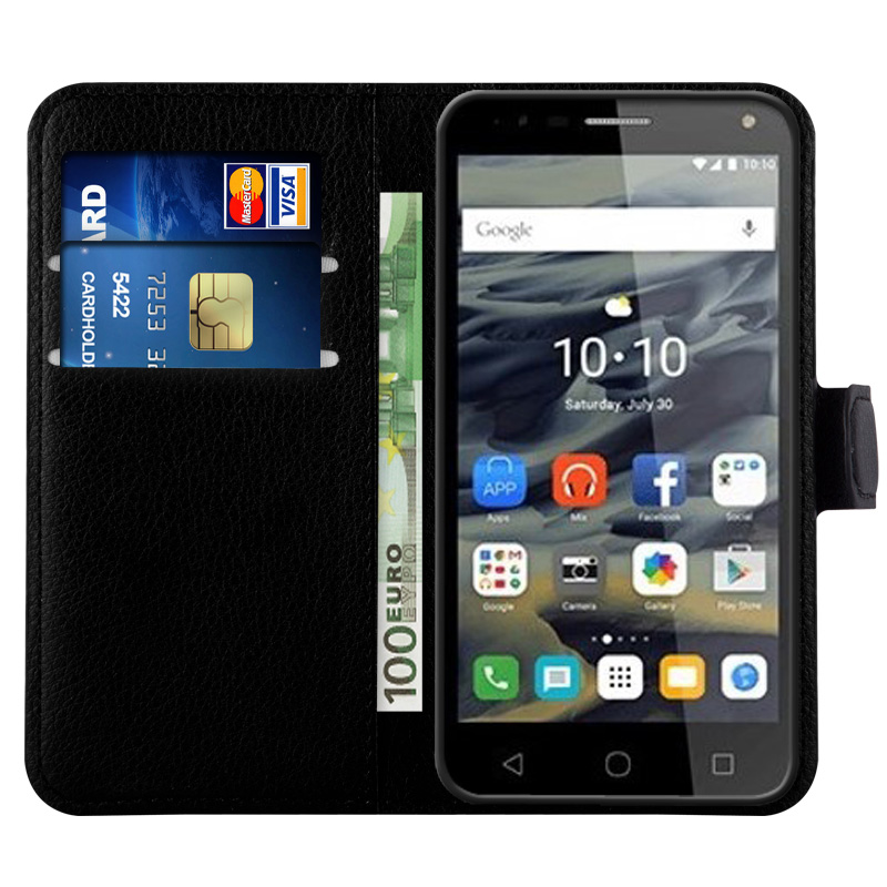 High Quality Synthetic Leather Wallet Mobile Phone case Back Cover For Alcatel One Touch Pop 4 With Magnetic Closure