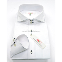 New Fancy Big Cutaway Collar 100% Cotton White Dress Shirt For Men