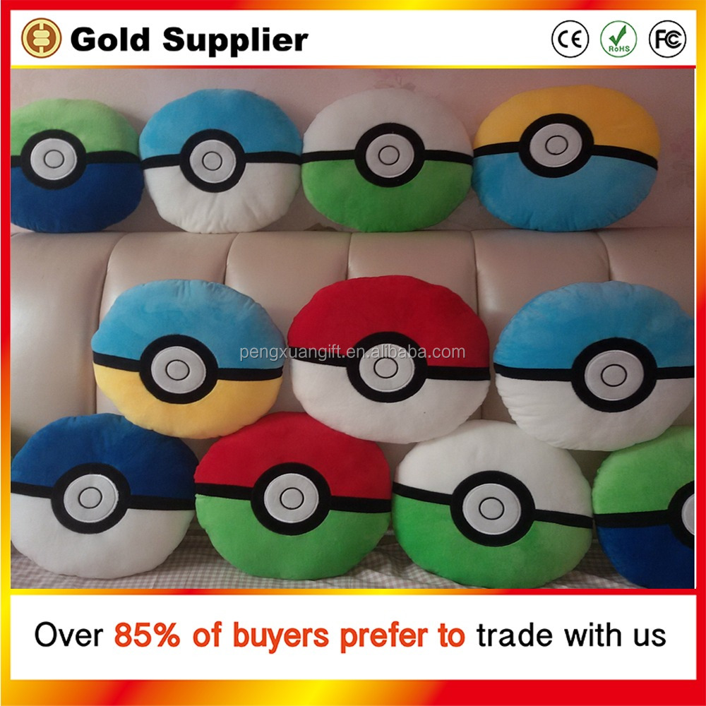 Anime Poke Ball Go Plush Toys 15.7'' 40CM Cute Pokeball Cotton Pillow PP Cushion Animals Pikachu Stuffed Doll Toys