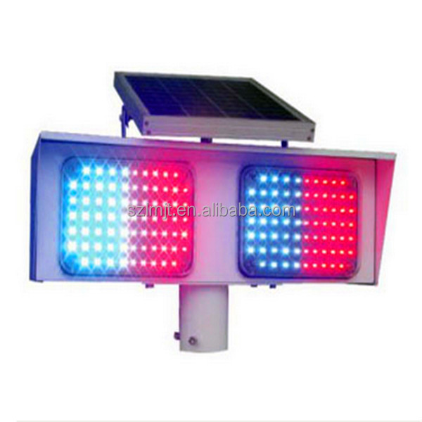 Best price double sets red and blue flashing LED for solar traffic signal warning strobe light