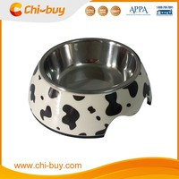 "Chi-buy Cow Lines Detachable Dual Melamine Pet Bowl antiskid Stainless steel Dog food water Bowl, L Size:6.50""LX8.66""WX2.87""H"