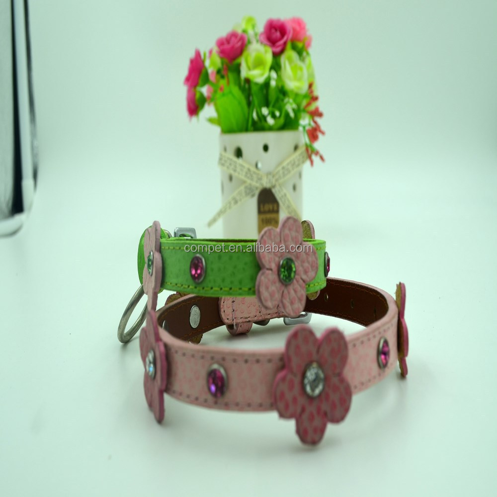 Factory Wholesale Promotional Pet Products Genuine Leather Pet Collars Dog PU Leather Belts with Flowers Studded