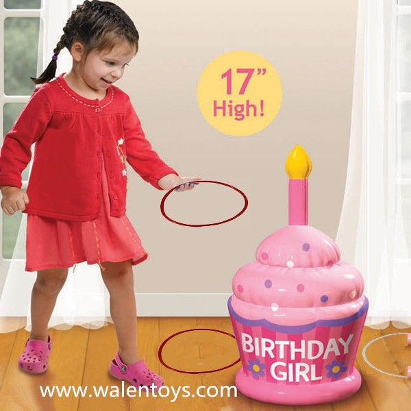 Inflatable cake,Inflatable Birthday Cake with candle Ring Toss Game