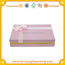 Alibaba China Paper Box Factory Custom Small Pink Paper Packaging Gift Box Top and Bottom Cardboard Gift Box with Silk Ribbon