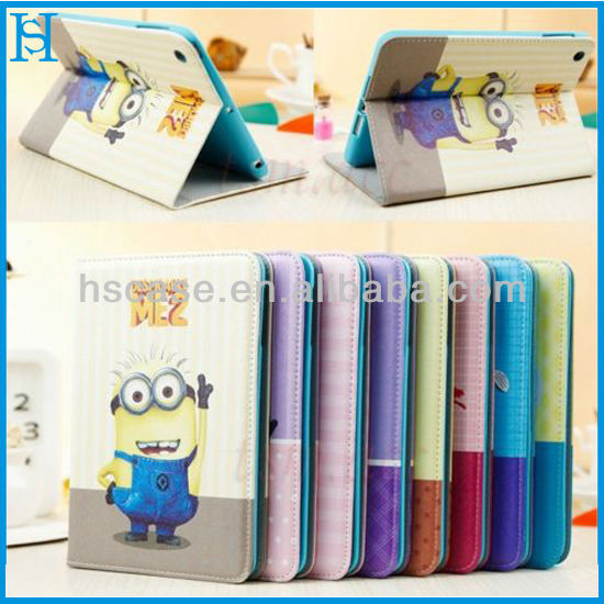 "7.9"" Custom Cartoon Despicable Me Leather Stand for pad Mini 3 Minions Case"