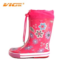 2015 beautiful colourful red flower rain boots kids shoes rain