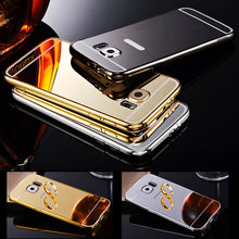 Mirror Aluminum Case for Samsung Galaxy S6 S6edge S7 S7edge Galaxy Grand Prime G530 Metal Frame Acrylic Phone Case Back Cover