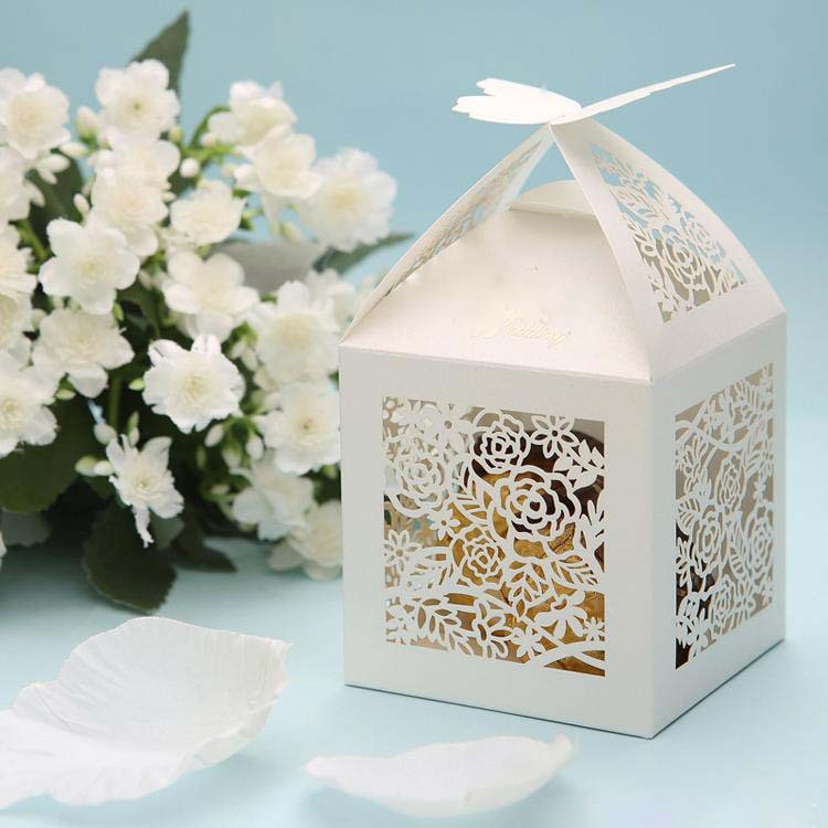 10pcs Laser Cut Butterfly Flower Wedding Favor Box Candy Box Birthday ...