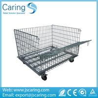 Metal rigid warehouse storage cage with wheels