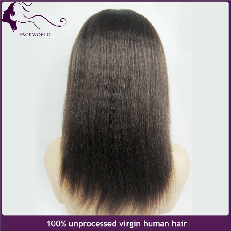Soft Unprocessed Brazilian virgin human hair kinky yaki glueless full lace wigs & lace front wigs for black