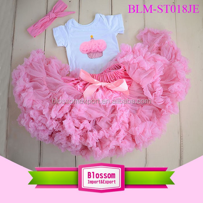 Embroidered Cupcake Boutique First Birthday Girls Outfits Kids Pink Tutu Skirt And Top Birthday Children's Clothing Sets