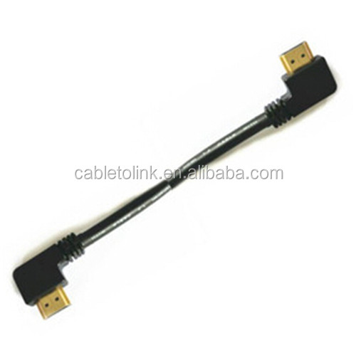SHORT 10cm HDI LEAD to RIGHT ANGLE HDM 90 DEGREES TV CABLE FULL HD 1080p v1.4