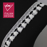 Hot selling 3cm white embroidery cording guipure cotton fringe lace