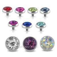 316L Surgical Stainless Steel Skin Divers 4mm Crystal Paved Epoxy Wholesale Jewelled Dermal Anchor Tops
