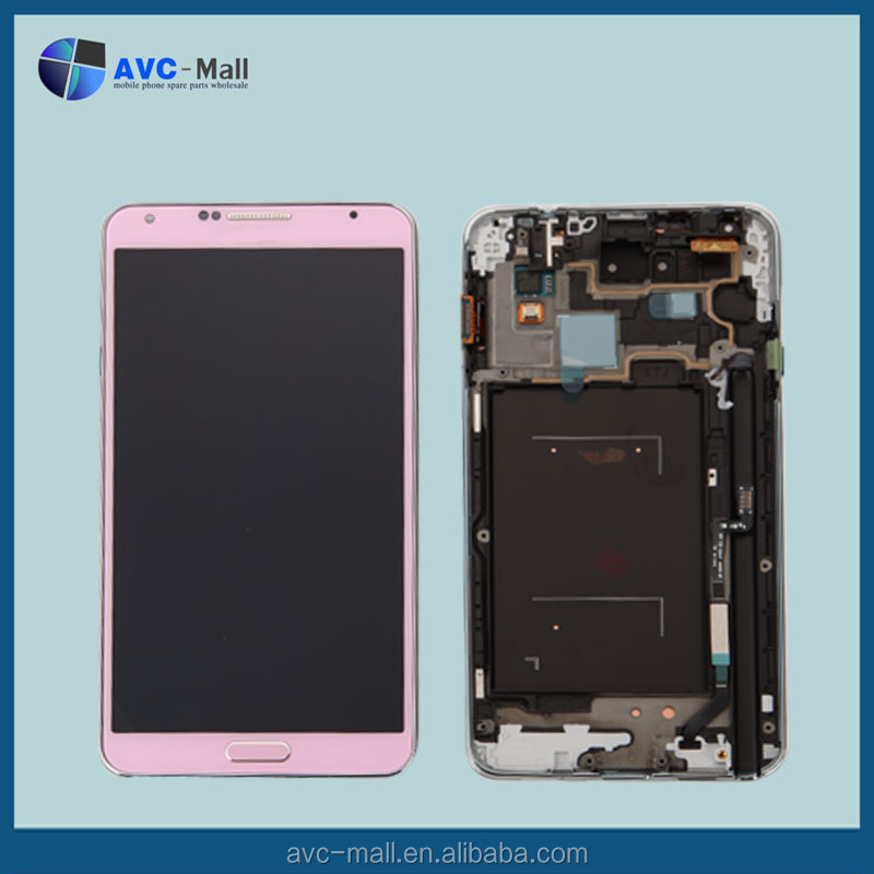 china markte mobile LCD screen & touch assembly w/frame for Samsung galaxy note3 N900 pink