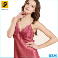 Cheap Satin Silk Fuchsia Sexy Women Nightgown /Spaghetti Strap Stain Women Robe