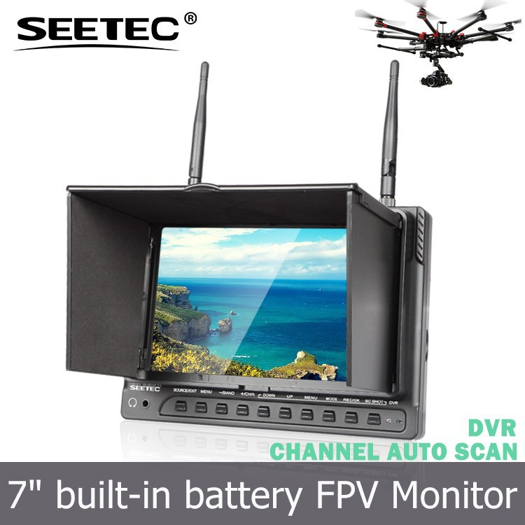 7 inch FPV monitor 5.8g wireless dvr with 32CH plastic sunshade no blue screen RCA connector